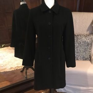 Anne Klein Black lambswool/cashmere coat, 6, EUC